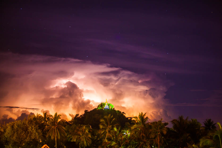Luang Prabang Laos - Lightning Over a Buddhist Pagoda
