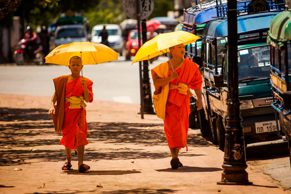 Luang Prabang Laos monks photo print Adventure of Two Blog